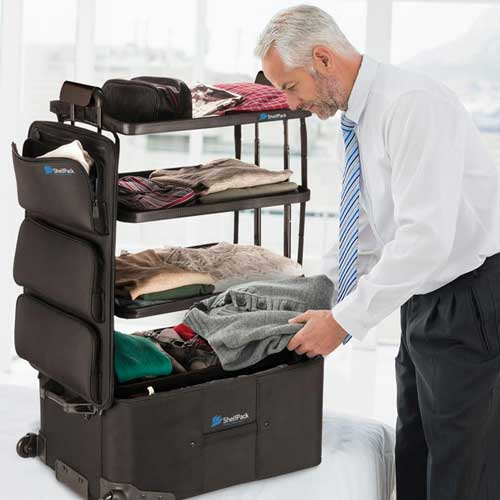 Businessman unpacking Shelfpack